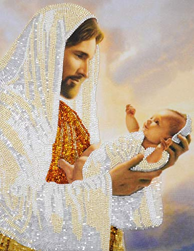Bead Embroidery kit Jesus Christ with a Baby Religious Icon Beaded Stitching Needlepoint Tapestry kit 3D Beaded Cross Stitch Made in Ukraine