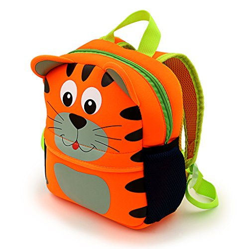IGNPION Nursery Kids Backpacks Toddle Children School Bag Zoo Lunch Bag 3D Cute Animal Cartoon Preschool Rucksack (Tiger(Small))