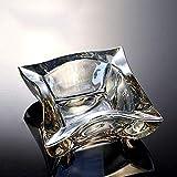 Suytan Cenicero Siet Crystal Glass Cenicero Cenicero, Cenicero de Alto Grado Refinado Ámbar Dorado Cenicero, Geometría Creativa Ceniceros Decoración de Escritorio Ceniceros para Cigarrillos Y Puros (