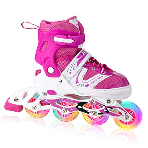 XRZT Children's Inline Skates for Kids, Adjustable Inline Skates with Full Light Up Wheels, Outdoor & Indoor Illuminating Roller Skates for Boys, Girls, Beginners, Small Size, Pink …