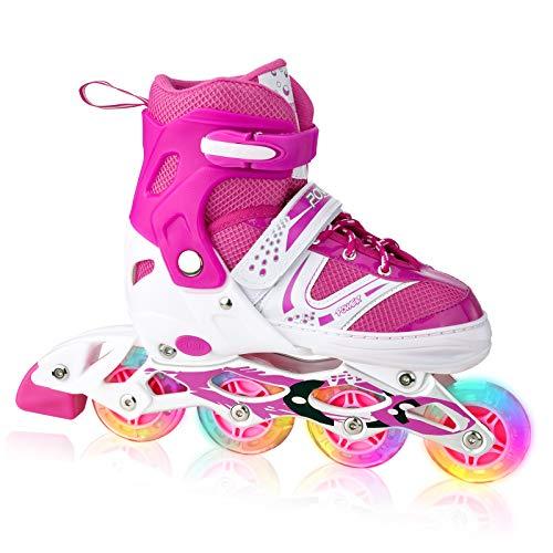 XRZT Children's Inline Skates for Kids, Adjustable Inline Skates with Full Light Up Wheels, Outdoor & Indoor Illuminating Roller Skates for Boys, Girls, Beginners, Medium Size. Pink …