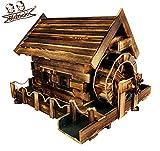 BLIZNIAKI Dekorativ Garten Wassermühle aus Holz Wetterfest 85x60x56cm einem rotierenden Mühlrad...