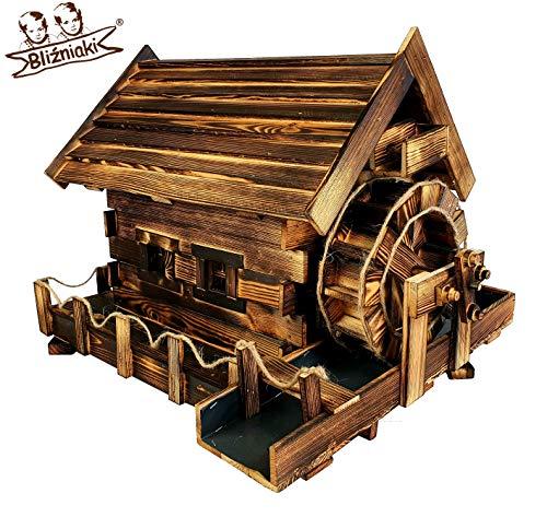 BLIZNIAKI Dekorativ Garten Wassermühle aus Holz Wetterfest 85x60x56cm einem rotierenden Mühlrad MWK3 Opal