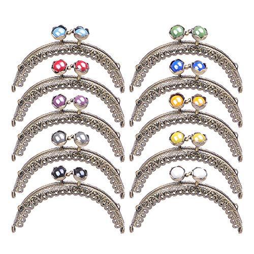Bagparts Metal Frame Purse Coin Bag Kiss Clasp Lock DIY Craft Assorted Lotus Bead 10PCS 8.8X6CM