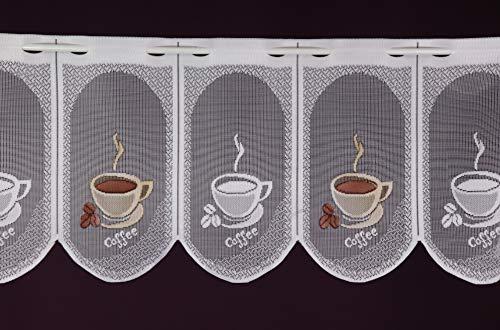 Albani Scheibengardine nach Maß Jacquard - Lamellenpanneau Cafemotiv Kaffee Espresso Bistrogardine Kurzstore Höhe 30 cm - Breite der Gardine durch Stückzahl in 15 cm Schritten wählbar weiß-braun