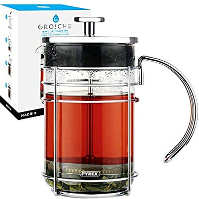 GROSCHE Madrid French Press Coffee Maker and Tea Press, 34 oz / 1000 ml size, Pyrex France Borosilicate Glass Beaker and Premium Stainless Steel Filter and Chrome Finish Coffee Press