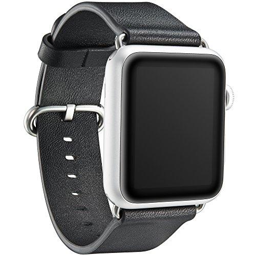 """KAVAJ Echtleder-Armband """"Barcelona"""" geeignet für Apple Watch Series 5,4,3,2 & 1 44 & 42 mm Schwarz. Lederarmband aus echtem Leder als ideales Zubehör für Damen und Herren"""
