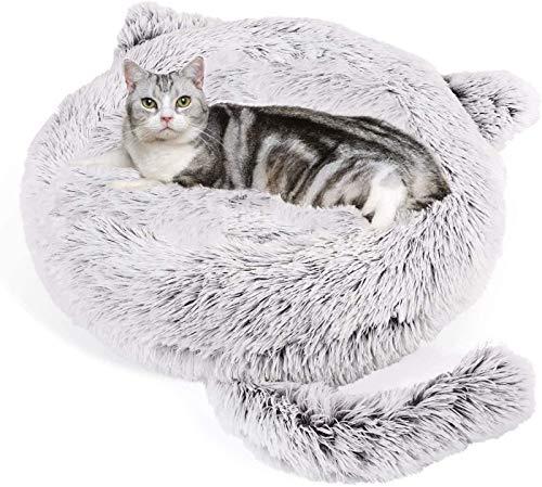 Wuudi Haustier Katzenbett Hundebett Katzenhöhle Katzenhaus Plüsch Donut Katzensofa Hundesofa, waschbar, rutschfest Geeignet für Katzen und Hunde 55cm (grau)