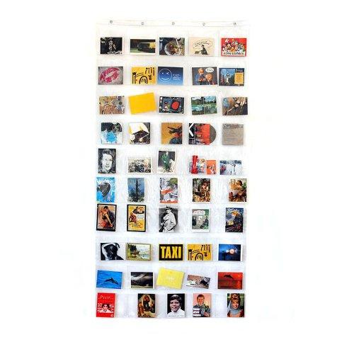HAB & GUT -DV008- Fotovorhang, transparenter Taschenvorhang mit 50 Taschen,für Hoch- und Querformat geeignet, Taschengröße 14,5 x 17,5 cm, Höhe 172 cm, Breite 88 cm