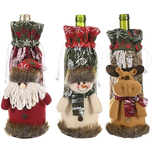 3PCS Christmas Wine Bottle Cover, Cute Santa Snowman Reindeer Doll Wine Bottle Dress Bottle Sweater Bottle Bags for Hotel Kitchen Table Home Wedding Centerpieces Decoration