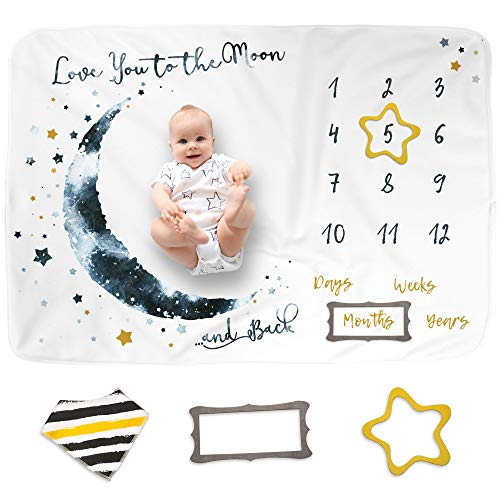 Luka&Lily Baby Monthly Milestone Blanket Boy and Girl, Unisex Month Blanket for Newborn Baby Shower,...