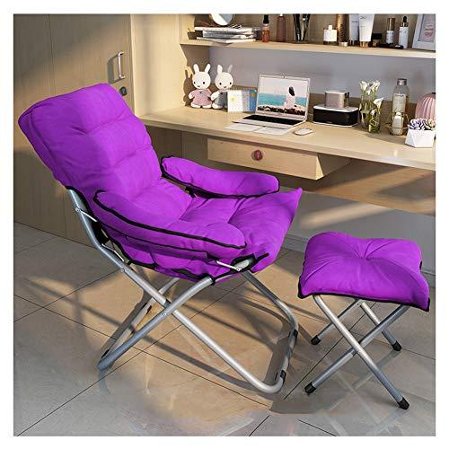 WJJ Gartenstuhl Klappstühle Deckchairs Klappstuhl Lazy Chair Solide Sicherheit Leichter und tragbarer Student Schlafsaal Schlafzimmer Apartment Stuhl (Color : Light Purple)