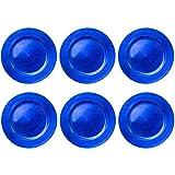 Aurora Store 12 Sottopiatti Bordo Ondulato Colore Blu in plastica Rigida Liscio Tondo 33 cm Natale cenone sotto Piatto Natalizio Capodanno Natale Cena Aperitivo Blu Scuro Notte Elettrico