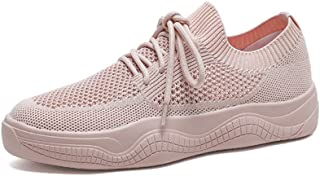 Hollow Breathable Mesh Women's Shoes, Summer New Lightweight and Comfortable Wild Fashion Sports Shoes Flying Woven Mesh Shoes Casual Shoes,Pink,38