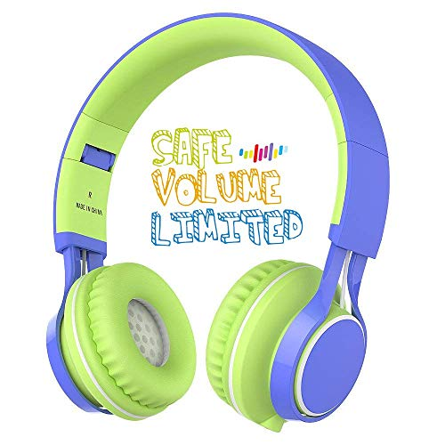 Kids Headphones, HD30 Kids headsets with Microphone Volume Limiting for Boys Girls and iPad Tablets Computer Laptops Android Smartphone (Blue/Green)