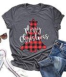 Merry Christmas Shirt Women Buffalo Plaid Christmas Trees Print Casual Short Sleeve Tshirt Holiday Graphic Tees Tops Gray