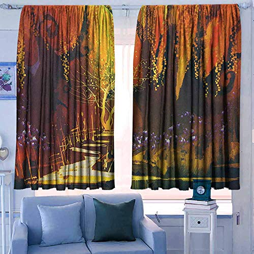 Rod Pocket Gordijnen Isolerende kamer Darkening Blackout Drapes voor Slaapkamer Fantasie Oproep van de Draak Magician voor Kwade Krachten van het Universum Kunstwerk Print Oranje Bruin