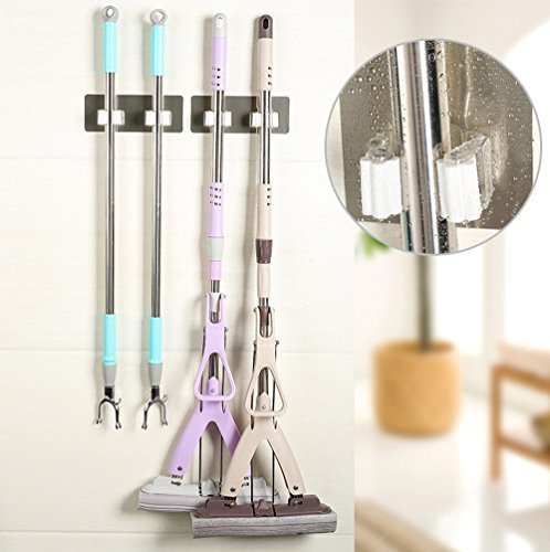 PIKAqiu33 Wall Mounted Mop Organizer Holder Brush Broom Hanger Storage Rack Kitchen Tool, Cleaning Supplies, for Christmas New Year