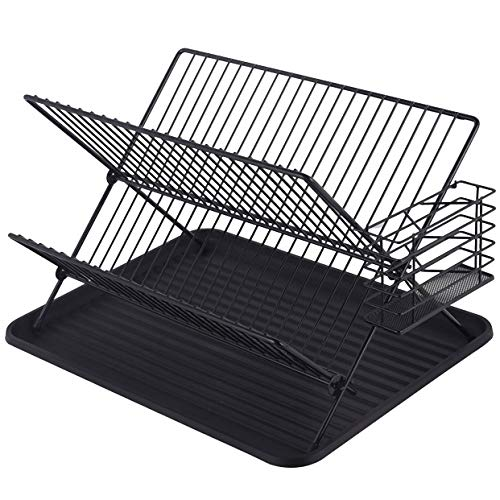 Mari Life Black Dish Drainer and Drying Rack | 2-Tier with Plate Rack, Drip Tray & Cutlery Basket | Rustproof Metal Wires | Space Saver | Multifunctional | for Kitchen Sink Top, Countertop, Cupboard