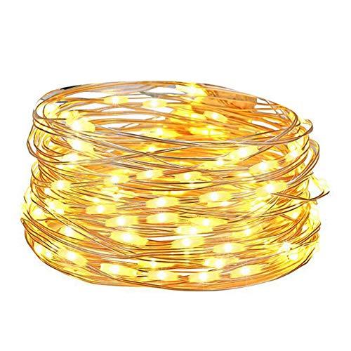 01 Luz de Cuerda de batería, luz de Cuerda de lámpara de Cuerda de Control Remoto, para Fiesta de cumpleaños, Patio, cumpleaños, Boda(Warm White)