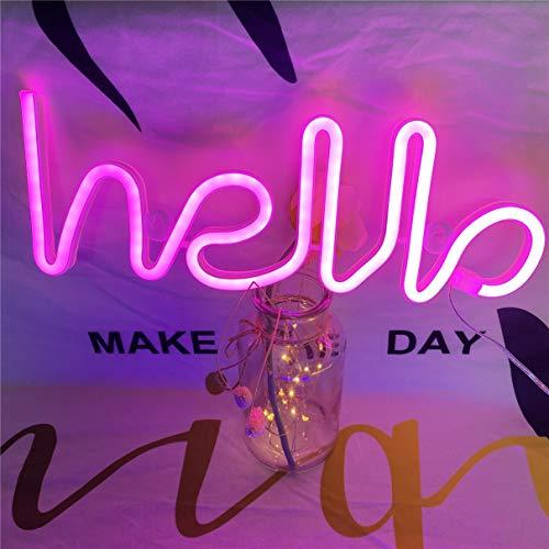 Neonlicht, LED Hallo Neon Wortzeichen Neon Buchstaben Licht Kunst dekorative Lichter, Festzelt Zeichen / Wanddekoration für Weihnachten, Geburtstagsfeier,(rosa Hallo)
