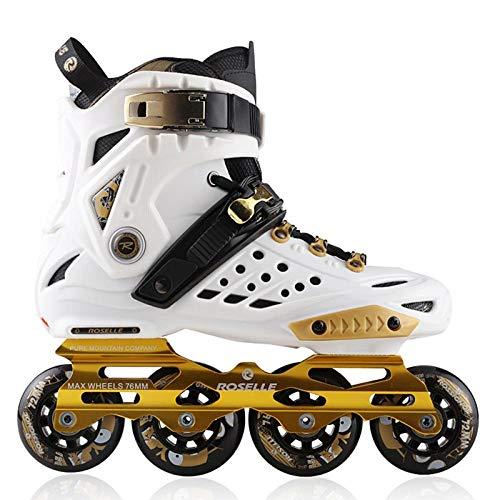 BTYKJ Rollschuhe, Anfänger für Erwachsene, ausgefallene Flache Schuhe für Männer und Frauen, Rollschuhe, Skateschuhe, gerade Radanordnung für Anfänger 38 Platinum