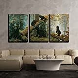 wall26 - Black Bears in Forest Painting - Canvas Art Wall Decor -16'x24'x3 Panel