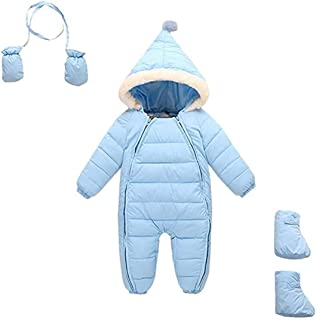 uniunitwo Baby Snowsuit Hooded Puffer Jacket, Winter Warm Romper Down Thick Outerwear Jumpsuit, 6-48 Months Unisex