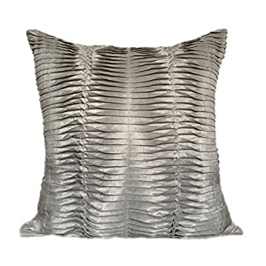 Textured Pillows Cover (18x18, Silver Grey) By The White Petals