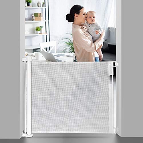 Absperrgitter Hund Türgitter Baby Treppenschutzgitter 0-150cm Türschutzgitter Ausziehbare Hundebarrieren Treppenschutzrollo für Baby Hunde Katzen, Geeignet für Innen und Außenbereich