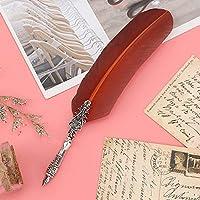アンティーククイルペンスムーズライティングプレミアム素材ヴィンテージフェザーペンクイルディップペン子供向けギフト用(茶色)