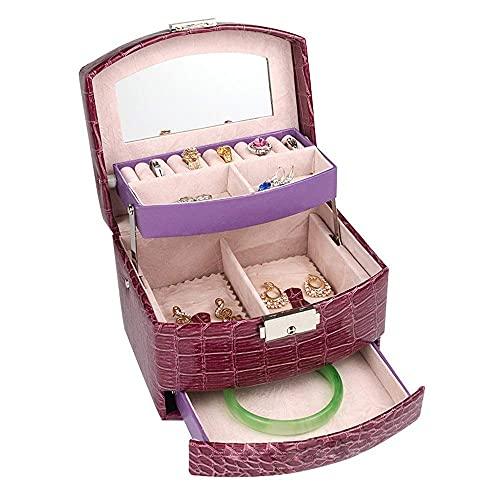 Reloj Boxes Joyería Organizador Caja Joyería Caja Collar Anillo Almacenamiento Organizador Joyero Grande Caja de Regalo (púrpura) para niñas Madre Mujeres, Púrpura, 15.5x13x12.5cm Yuechuang