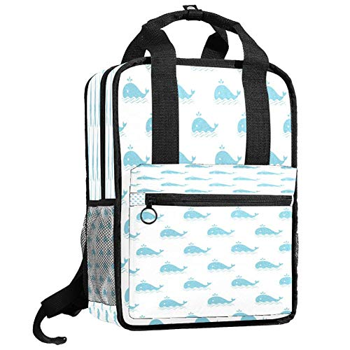 Backpacks Shoulders Bag cute azure whales Backpack traveling middle school high school