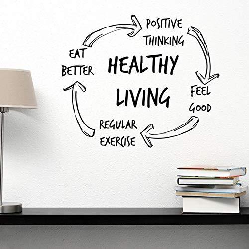 Etiqueta engomada de la pared del vinilo de la vida sana Las letras de la yoga inspiran el gimnasio en casa