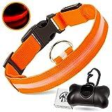 PETJET © Collar de perro LED y dispensador de bolsas con 15 bolsas extra, talla...