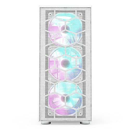 Montech X3 Mesh 6pcs, 3 x 140mm& 3 x 120mm Fixed RGB Lighting Fans ATX Mid-Tower PC Gaming Case, USB3.0, Door Open Tempered Glass Side Panel, High Airflow, White