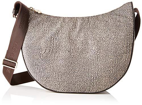 Borbonese Luna Bag Middle, Borsa a Tracolla Donna, Marrone (Op Classico/Marrone), 30x32x12 cm (W x H x L)