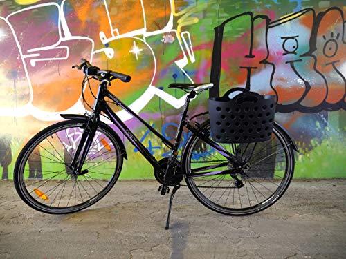 HAPO-G Trendy One - Cesta para Bicicleta con fijación para portaequipajes Unisex, Color Negro, 13,5 litros