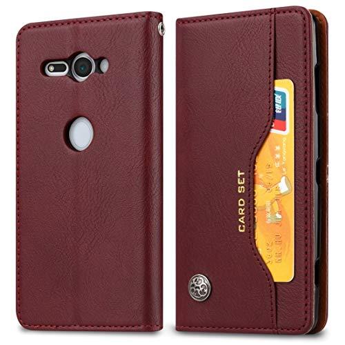 Zhangl Sony Cases - Funda de piel con tapa horizontal para Sony Xperia XZ2 Compact, con marco de fotos y soporte y ranuras para tarjetas y billetera, color negro