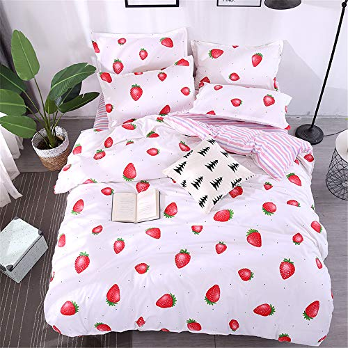 Fansu Duvet Cover Set 3 Piece, Microfiber Easy Care Polyester Elegant Fruit Plant Stlye Design Bedding Sets Bedroom Pillowcases x 2 Quilt Case x 1 (King-220x230cm,Strawberry white)