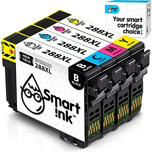 Smart Ink Remanufactured Ink Cartridge Replacement for Epson T288 288XL 288 XL (Black & C/M/Y 4 Combo Pack) to use with Expression Home XP-330 XP-430 XP-434 XP-446 XP-440 XP-340