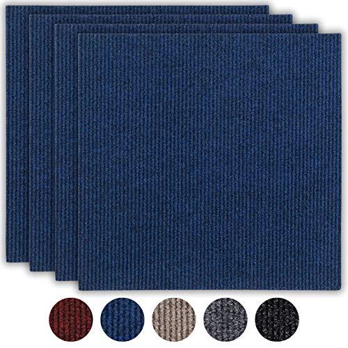 andiamo Teppichfliesen selbstklebend Teppichboden Bodenbelag selbstliegend, Farbe:Blau, Größe:1 m²