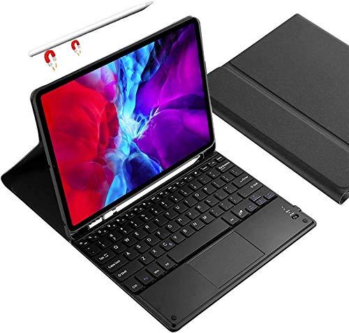 Funda para Teclado iPad Air 4 10.9 2020 [Soporte para Carga De Lápiz] Funda De Soporte Tipo Folio con Teclado Táctil Inalámbrico Desmontable con Portalápices para iPad Air 4a Generación 2020,Black