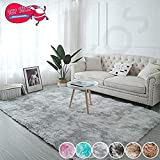 Muutos Wohnzimmer Teppich 200x300cm, Lammfell Teppich, Gemütlich, Flauschiger, für Wohnzimmer Küche Flur Schlafzimmer oder Kinderzimmer - Hellgrau