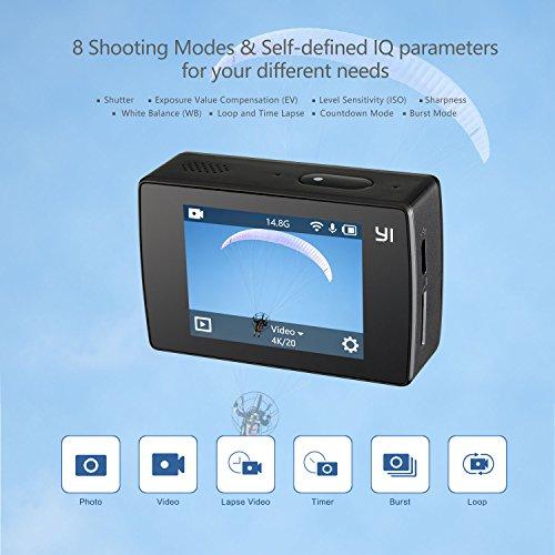 YI Discovery Cámara de Acción 4K Cámara Deportiva WiFi LCD Pantalla Táctil Sony Sensor Control Remoto por APP con Baterías Recargable
