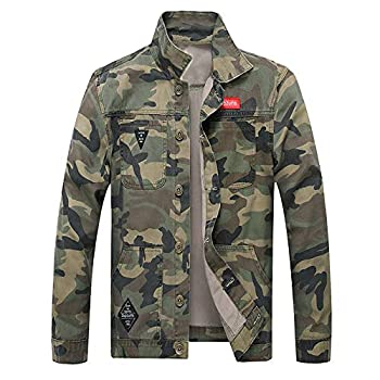 OSTELY Men s Jacket Turn-Down Collar Camouflage Denim Outwear Autumn Winter Casual Long Sleeve Slim Fitted Tops Army Green,X-Large