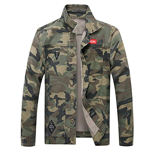 OSTELY Men's Jacket, Turn-Down Collar Camouflage Denim Outwear Autumn Winter Casual Long Sleeve Slim Fitted Tops(Army Green,X-Large)