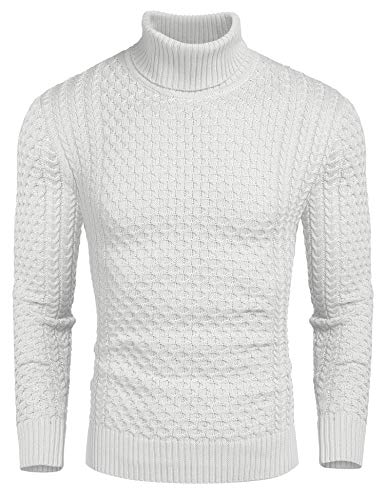 COOFANDY Men's Slim Fit Turtleneck Sweater Casual Knitted Twisted Pullover Solid Sweaters White
