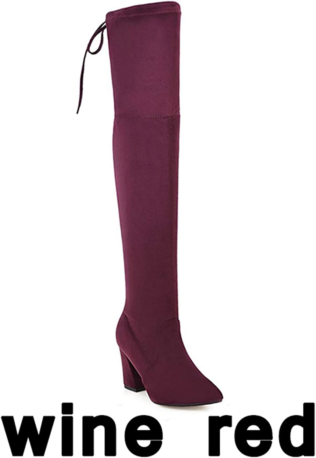 Twinkle UU Boots High Heels Sexy Flock Woman Over The Knee Boot Stretch Lady Long Boot 34-43
