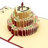 誕生日ケーキ メッセージ カードバースデー誕生日グリーディング 飛び出す 切り絵 立体 3D ケーキろうそく赤 結婚祝いカード お祝い友達感謝 記念日 出産祝い 母の日 カード 手作りグリーティング封筒付き(180度開くバースデーケーキ) (レッド)